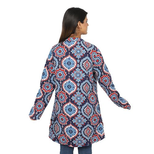Handmade Printed Reversible Quilted Long Jacket in Navy Blue and Multi Colour - Size XXL