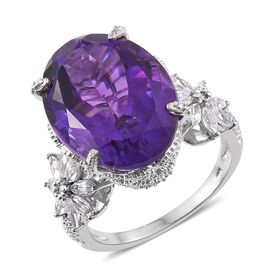 18.25 Ct Amethyst and Cambodian Zircon Floral Design Ring in Platinum Plated Silver 6.65 Grams