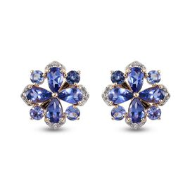 9K Yellow Gold AA Tanzanite and Natural Cambodian Zircon Stud Earrings (with Push Back) 2.84 Ct.