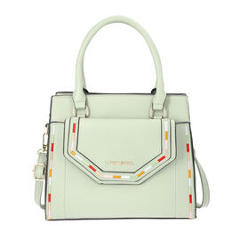 LOCK SOUL Mint Green Handbag with Detachable Shoulder Strap and Flap Pocket at Front (28x13x23cm)