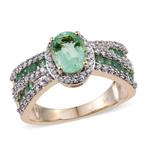 9K Y Gold AA Boyaca Colombian Emerald (Ovl 1.20 Ct), Kagem Zambian Emerald and Natural Cambodian Zircon Ring 2.250 Ct.