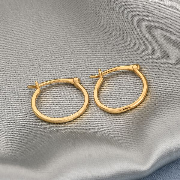 14K Gold Overlay Sterling Silver Hoop Earrings (with Clasp)
