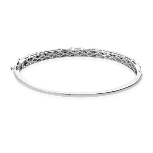 Diamond (Rnd) Bangle (Size 7.5) in Platinum Overlay Sterling Silver 1.00 Ct, Silver wt 13.00 Gms, Number of Diamond 159