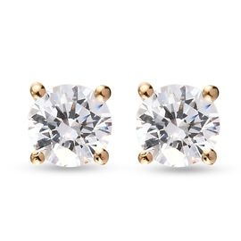 J Francis  - 14K Gold Overlay Sterling Silver Stud Earrings (with Push Back) Made with SWAROVSKI ZIR