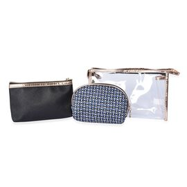 Set of 3 - 1 Transparent, 1 Solid Black and 1 Woven Pattern Blue Colour Cosmetic Bag with Zipper Clo