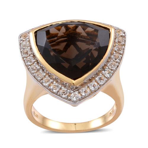 Brazilian Smoky Quartz (Trl 12.50 Ct), White Topaz Ring in 14K Gold Overlay Sterling Silver 14.000 Ct.