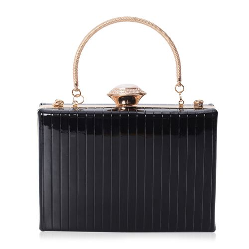 Boutique Collection Vintage Style Black Clutch with Removable Iron Chain Shoulder Strap (Size 17.5x12x4.5 Cm)