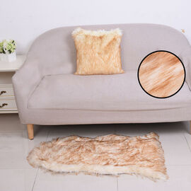 2 Piece Set - Faux Fur Small Carpet (100x60cm) with Cushion (45x45cm-1Pc) - Golden