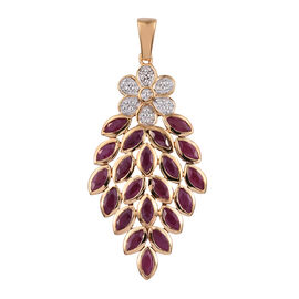 4.25 Ct African Ruby Cluster Pendant in Gold Plated Sterling Silver 7.26 Grams