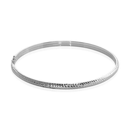 Diamond Cut Bangle in 9K White Gold 7.5 Inch
