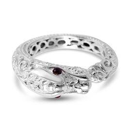 Royal Bali Collection Mozambique Garnet Dragon Ring in Sterling Silver