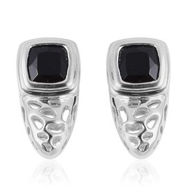 RACHEL GALLEY Boi Ploi Black Spinel (Cush) Earrings (with Push Back)in Rhodium Overlay Sterling Silver 3.860 Ct., 5.16 Gms.