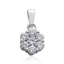 RHAPSODY 950 Platinum SGL Certified Diamond (Rnd) (VS/E-F) 7 Stone Floral Pendant 0.500 Ct.