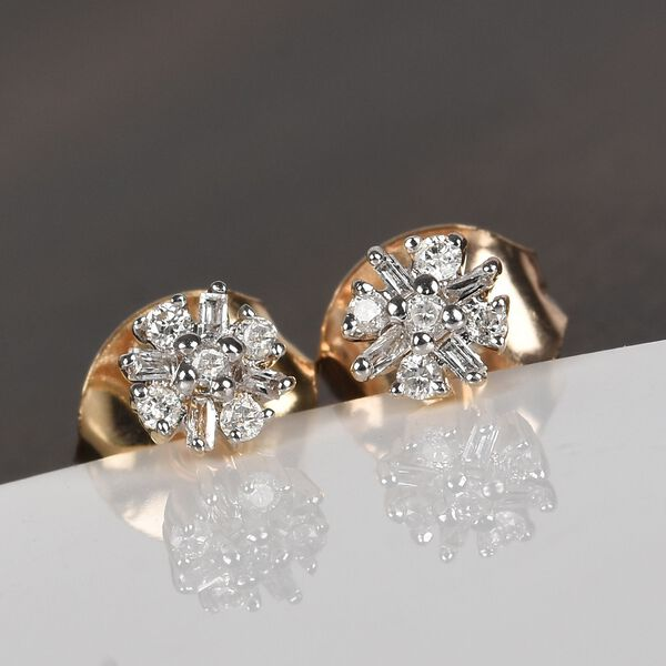 9K Yellow Gold SGL Certified Diamond (I3/G-H) Stud Earrings (with Push Back)