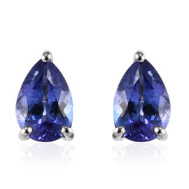 RHAPSODY 950 Platinum AAAA Tanzanite (Pear 7x5 mm) Stud Earrings (with Screw Back) 1.400 Ct