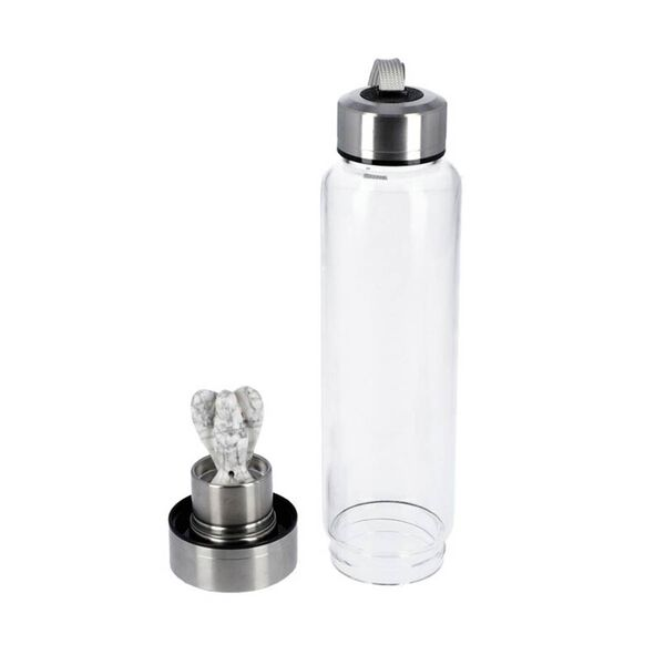 550 ML White Turquoise Angel Figurine Crystal Elixir Water Bottle with Stainless Steel Cap (Size 24.5x6.5 Cm)