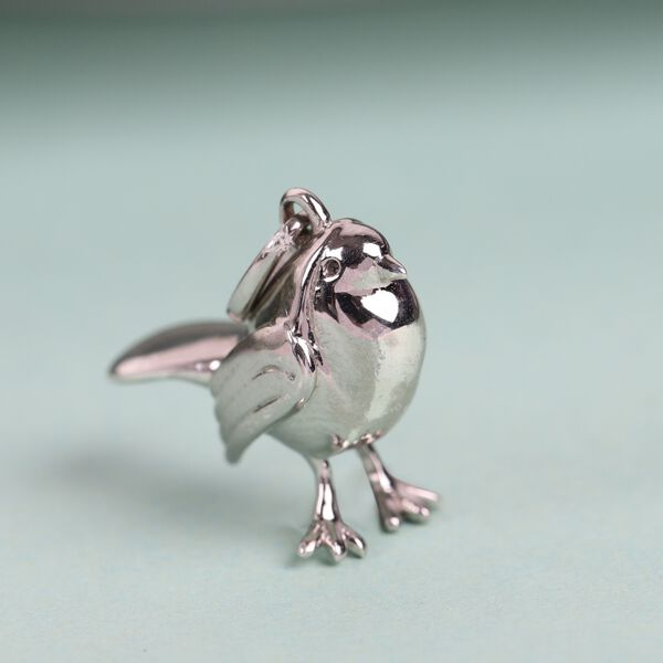 MP Platinum Overlay Sterling Silver Robin Bird Pendant