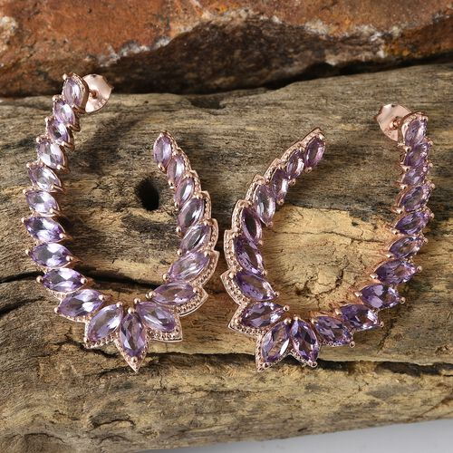 Rose De France Amethyst (Mrq) Earrings (with Push Back) in Rose Gold Overlay Sterling Silver 9.500 Ct. Silver wt 12.17 Gms.