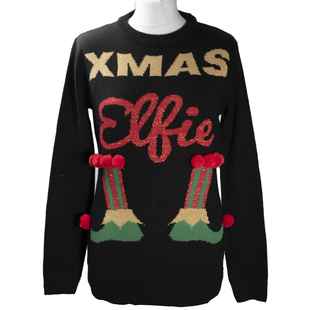Knitted Sequin Xmas Elf Ladies Jumper (Size M/ 10-12) - Black