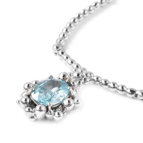 LucyQ Bubble Collection - Ratanakiri Blue Zircon Necklace (Size 16 with 4 inch extender) in Rhodium Overlay Sterling Silver  2.71 Ct, Silver wt. 10.30 Gms