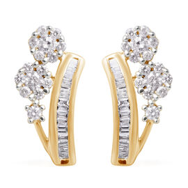 0.50 Carat Diamond Pressure Set Floral Earrings (with Push Back) in 9K Yellow Gold SGL Certified I3