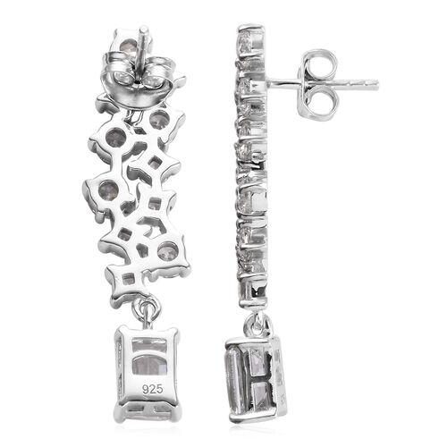 J Francis - Platinum Overlay Sterling Silver (Oct) Dangling Earrings (with Push Back) Made with SWAROVSKI ZIRCONIA 10.44 Ct.