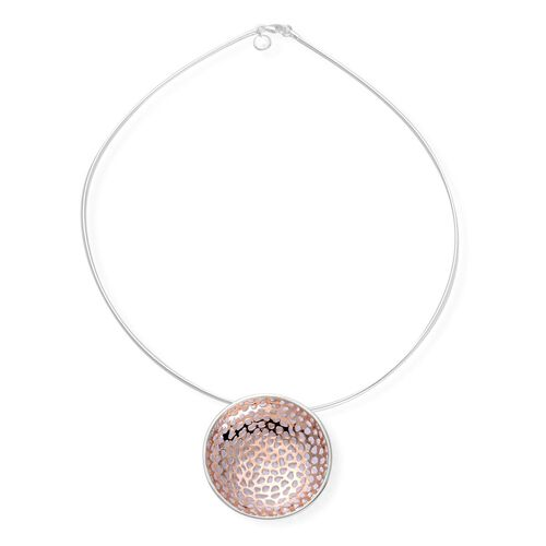 RACHEL GALLEY Rose Gold Overlay and Sterling Silver Memento Disc Pendant With Chain, Silver wt 21.50 Gms.