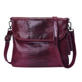 100% Genuine Leather Lizard Skin Pattern Crossbody Bag with Adjustable Strap (Size 24x3x24 Cm)  - Wi
