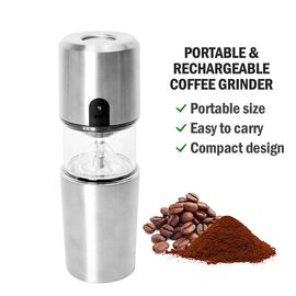 Portable and Rechargeable Coffee Grinder (Size 7.6x22.7 cm) - Silver