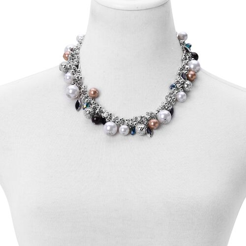 Simulated Pearl and Multi Colour Austrian Crystal Necklace (Size 18 with 3 inch Extender) in Silver Tone