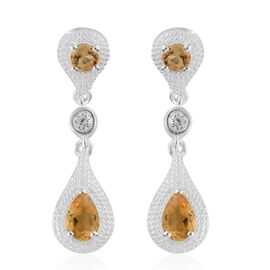 Designer Inspired- Citrine (Pear), Natural Cambodian Zircon Earrings in Sterling Silver 1.250 Ct.