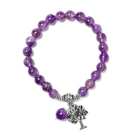 75 Carat Amethyst Tree of Life Lucky Charm Beaded Stretchable Bracelet 7 to 7.5 Inch