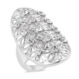 J Francis - Crystal from Swarovski White Colour Crystal (Rnd) Floral Mesh Design Ring in Platinum Pl
