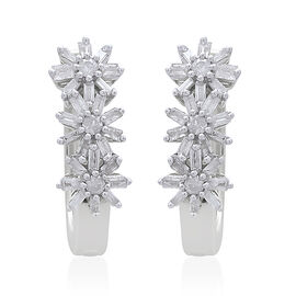 Exclusive Edition- 9K White Gold Fire Cracker SGL Certified Diamond (Rnd and Bgt) (I3/G-H) Floral Earrings (with Clasp Lock) 0.500 Ct. Gold Wt. 4.00 Grams