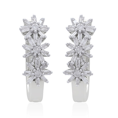 Exclusive Edition- 9K White Gold Fire Cracker SGL Certified Diamond (Rnd and Bgt) (I3/G-H) Floral Ea