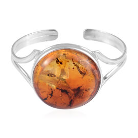 Amber Bangle in Sterling Silver 8 Grams Size 7 Inch