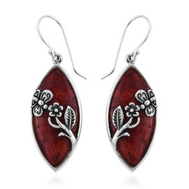 Coral Solitaire Floral Earrings with Hook in Silver