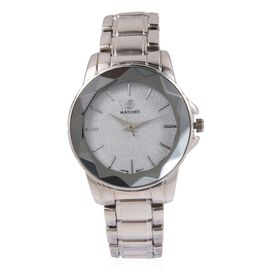 STRADA Japanese Movement Water Resistant Silver Stardust Dial Watch in Silver Tone