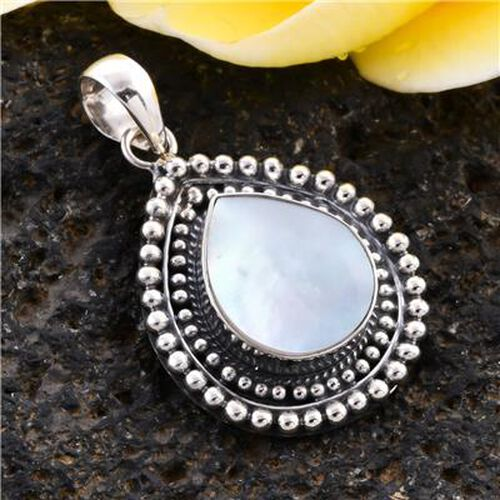 Royal Bali Collection - Mother of Pearl Drop Pendant in Sterling Silver, Silver wt 3.65 Gms