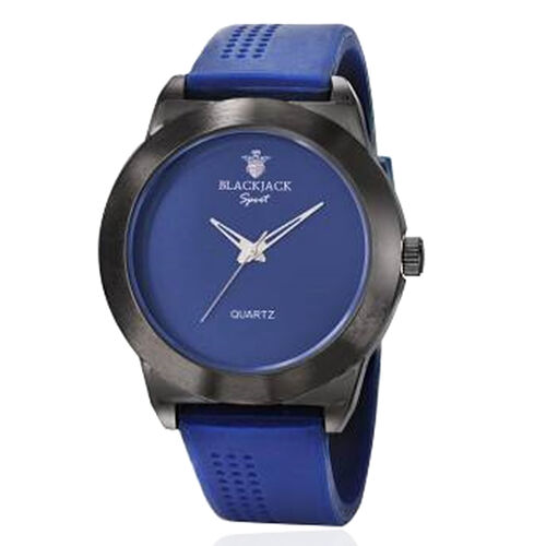 Limited Available-BLACKJACK Japanese Movement Blue Colour Dial Water Resistant Watch in Black Tone with Stainless Steel Back and Blue Rubber Strap