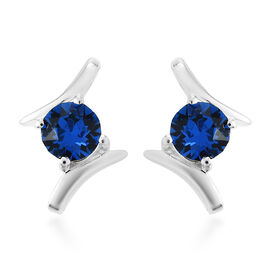 J Francis Crystal from Swarovski Capri Blue Crystal Earrings in Sterling Silver
