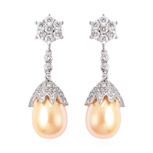 VINTAGE BOUTIQUE COLLECTION - Golden Shell Pearl and Simulated Diamond Dangle Earrings in Silver Ton