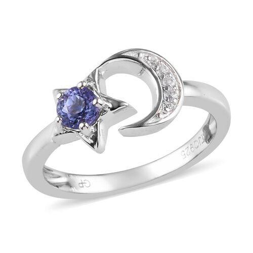 GP Tanzanite and Zircon and Blue Sapphire Crescent Moon and Star Ring in Platinum Plated Silver
