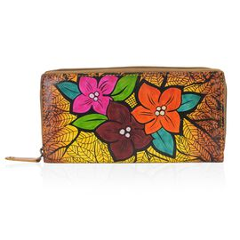 SUKRITI 100% Genuine Leather Vintage Flowers Pattern Wallet with RFID Blocker (Size 20x10 Cm) - Tan