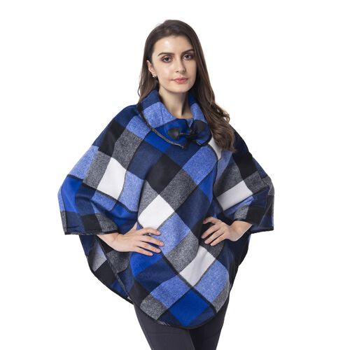 Blue, Black and White Colour Plaid Pattern Cape with Collar and Button (Size 81x99 Cm)