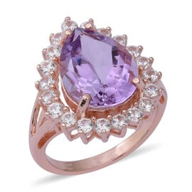 Rose De France Amethyst (Pear 16x12 mm), Natural White Cambodian Zircon Ring in Rose Gold Overlay St
