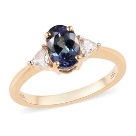 ILIANA 18K Yellow Gold AAA Peacock Tanzanite (Ovl), Diamond (SI/G-H) Ring 1.50 Ct.
