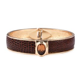 Snake Skin Embossed Faux Leather Bangle (Size 7) in Gold Tone
