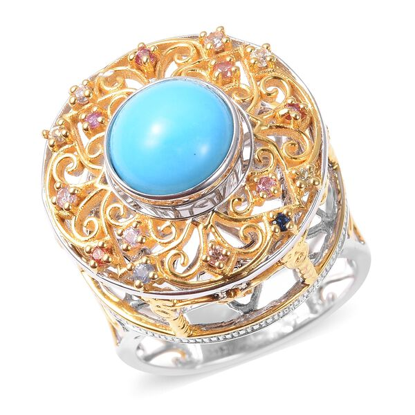 Arizona Sleeping Beauty Turquoise & Multi Sapphire Ring in Two Tone Overlay Sterling Silver Ring 2.5