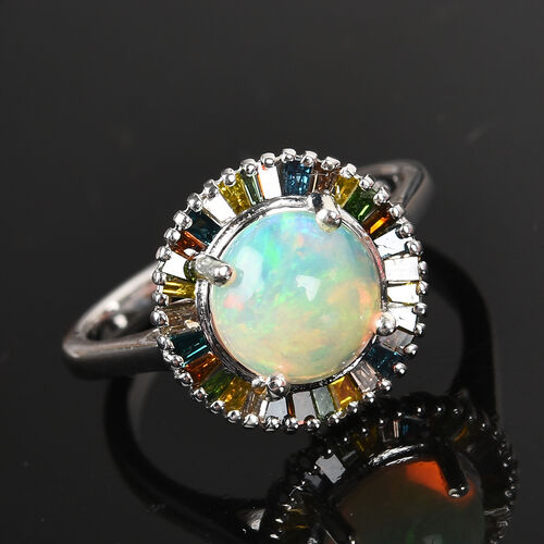Ethiopian Welo Opal and Multi Colour Diamond Ring in Platinum Overlay Sterling Silver 1.75 Ct.